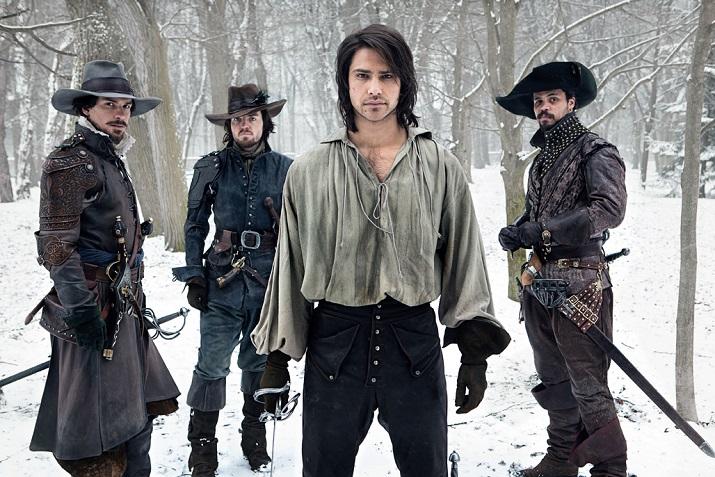 A hidegben is menőző muskétások: Athos, Aramis, D'artagnan és Porthos